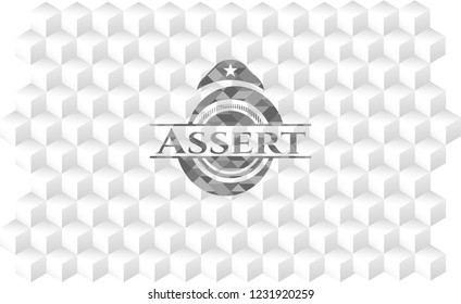 Assert realistic grey emblem with cube white background