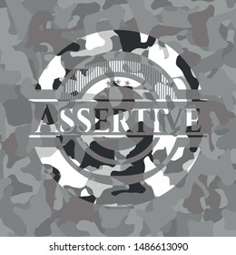 Assertive on grey camouflaged texture