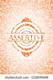 Assertive orange tile background illustration. Square geometric mosaic seamless pattern with emblem inside.