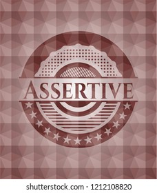 Assertive red seamless emblem with geometric pattern.
