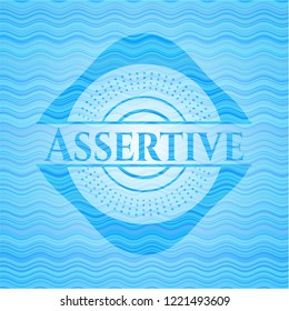 Assertive water concept style badge.