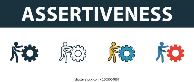 Assertiveness icon set. Four elements in diferent styles from soft skills icons collection. Creative assertiveness icons filled, outline, colored and flat symbols.