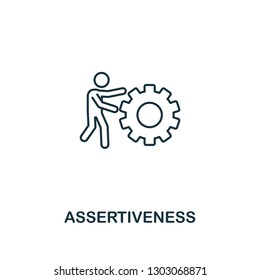 Assertiveness icon. Thin outline creative Assertiveness design from soft skills collection. Web design, apps, software and print usage.