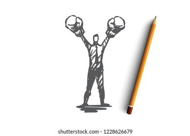 Assertiveness, success, work, competence, motivation concept. Hand drawn single-minded businessman concept sketch. Isolated vector illustration.