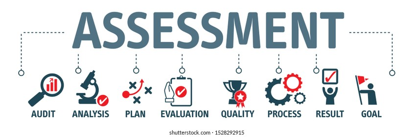 Assessment Analysis Evaluation Measure Business Analytics Vector Illustration Concept with icons
