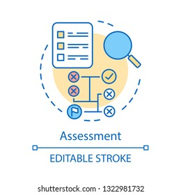 Assessment concept icon. Making decision idea thin line illustration. Data evaluation. Search solution. Magnifying glass with document. Assessing. Vector isolated outline drawing. Editable stroke