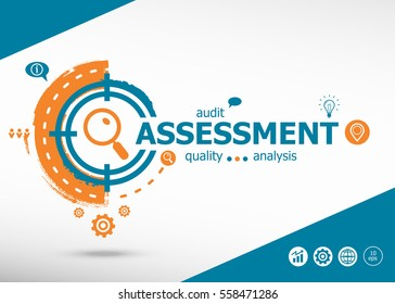 Assessment concept on target icons background. Flat illustration. Infographic business for graphic or web design layout