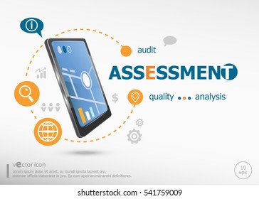 Assessment concept and realistic smartphone black color. Infographic business for graphic or web design layout