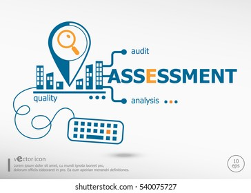 Assessment and marketing concept for application development, creative process.