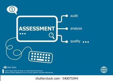 Assessment related words concept. Business concept for creative process.