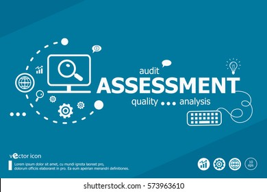 Assessment related words and marketing concept. Infographic business. Project for web banner and creative process.