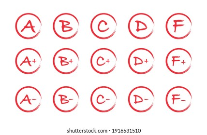 Assessment results. Hand drawn school or college exam results. Class grades with circles, pluses and minuses. Vector illustration.