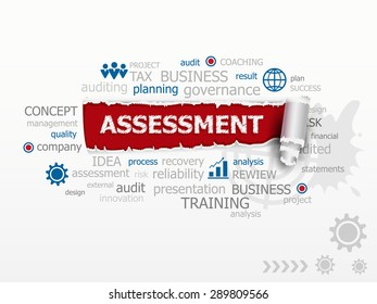 Assessment word cloud. Design illustration concepts for business, consulting, finance, management, career.