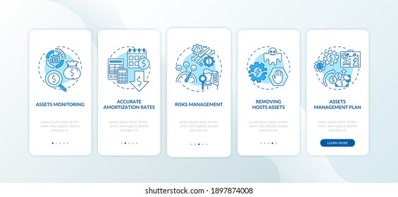 Asset management benefits onboarding mobile app page screen with concepts. Risks control, amortization rates walkthrough 5 steps graphic instructions. UI vector template with RGB color illustrations