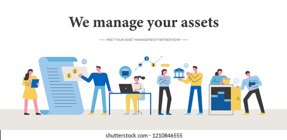Asset manager character. Promotion concept banner template. flat design style vector graphic illustration.