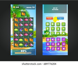 Asset of the playing field and the user interface for the game match 3. Marine themes: seashells, sea, beach. Vector illustration.