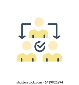 Assignment, Delegate, Delegating, Distribution  Flat Color Icon. Vector icon banner Template