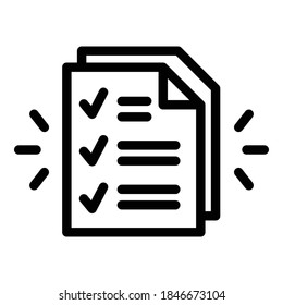 Assignment paper icon. Outline assignment paper vector icon for web design isolated on white background