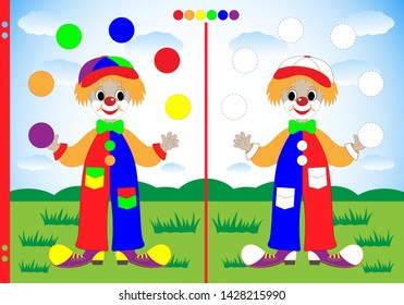 Assignment for preschool children to practice fine motor skills. Circle the dotted line and color the juggler clown balls in mirror colors. Worksheet for printing. Vector illustration