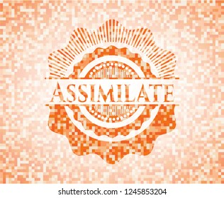 Assimilate abstract orange mosaic emblem