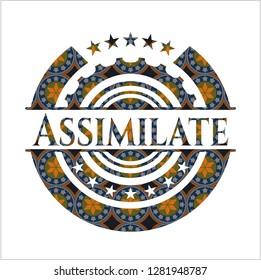 Assimilate arabic badge. Arabesque decoration.