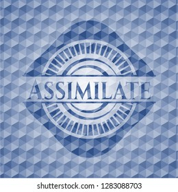 Assimilate blue badge with geometric background.