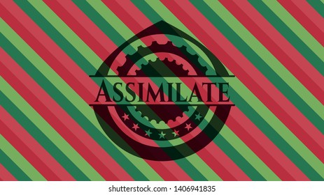 Assimilate christmas badge background. Vector Illustration. Detailed.
