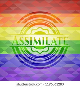 Assimilate emblem on mosaic background with the colors of the LGBT flag