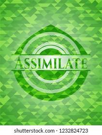 Assimilate green emblem. Mosaic background