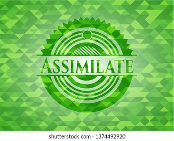 Assimilate green emblem with triangle mosaic background