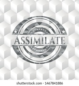 Assimilate grey badge with geometric cube white background