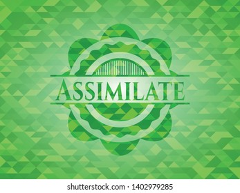 Assimilate realistic green mosaic emblem. Vector Illustration. Detailed.