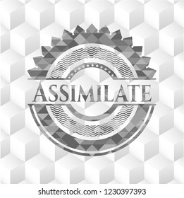 Assimilate realistic grey emblem with cube white background