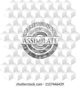Assimilate realistic grey emblem with geometric cube white background