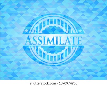 Assimilate realistic sky blue emblem. Mosaic background