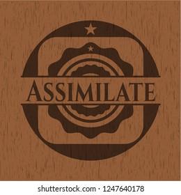 Assimilate realistic wooden emblem