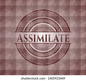 Assimilate red geometric emblem. Seamless.