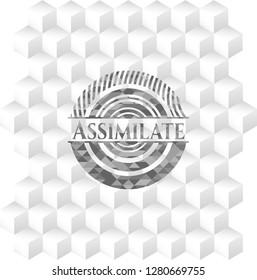 Assimilate retro style grey emblem with geometric cube white background