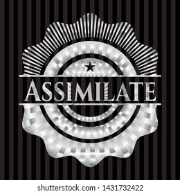Assimilate silver badge. Vector Illustration. Mosaic.