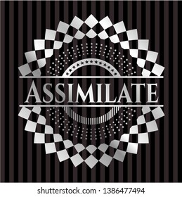 Assimilate silver emblem. Vector Illustration. Mosaic.