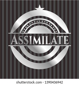 Assimilate silvery emblem. Vector Illustration. Mosaic.