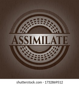 Assimilate vintage wood emblem. Vector Illustration.
