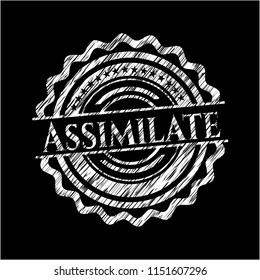 Assimilate written with chalkboard texture