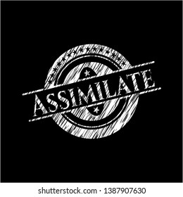 Assimilate written on a chalkboard. Vector Illustration. Detailed.