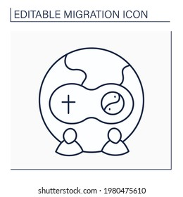 Assimilation line icon. Cultural and religious assimilation.Rejection of other people faiths or cultural preferences.Migration concept. Isolated vector illustration. Editable stroke