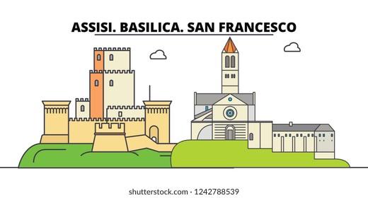Assisi. Basilica. San Francesco - Other Franciscan Sites  line travel landmark, skyline, vector design. Assisi. Basilica. San Francesco - Other Franciscan Sites  linear illustration.
