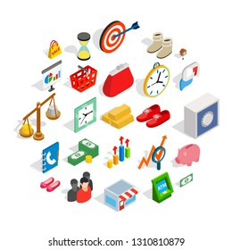 Assistance to business icons set. Isometric set of 25 assistance to business vector icons for web isolated on white background