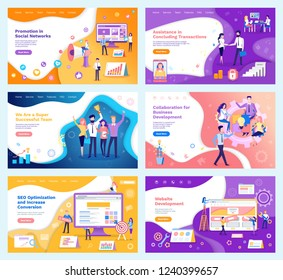 Assistance in concluding,   transactions posters set with text vector. Successful team, marketing and seo optimization, collaboration of team workers