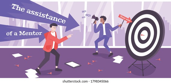 Assistance of mentor flat composition with young businessman managed by coach aiming target  vector illustration