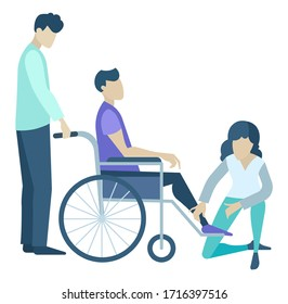 female patient vector images stock photos vectors shutterstock https www shutterstock com image vector assistant man woman disabled male wheelchair 1716397516
